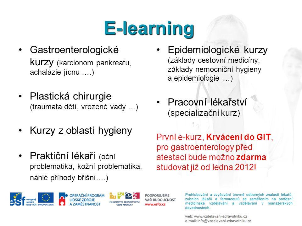E-learning •Gastroenterologické kurzy (karcionom pankreatu, achalázie jícnu ….) •Plastická chirurgie (traumata dětí, vrozené vady …) •Kurzy z oblasti