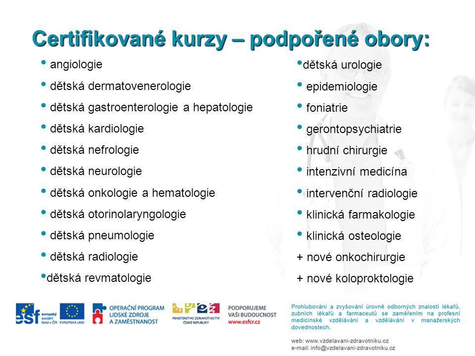 Certifikované kurzy - podpořené obory: • maxilofaciální chirurgie • medicína dlouhodobé péče • návykové nemoci – nově vzdělávací program • neonatologie • neuroradiologie • onkogynekologie • paliativní medicína a léčba bolesti • perinatologie a fetomaternální medicína • + nově klinická výživa a intenzivní metabolická péče • popáleninová medicína • posudkové lékařství • pracovní lékařství • reprodukční medicína • sexuologie • tělovýchovné lékařství • urgentní medicína • urogynekologie