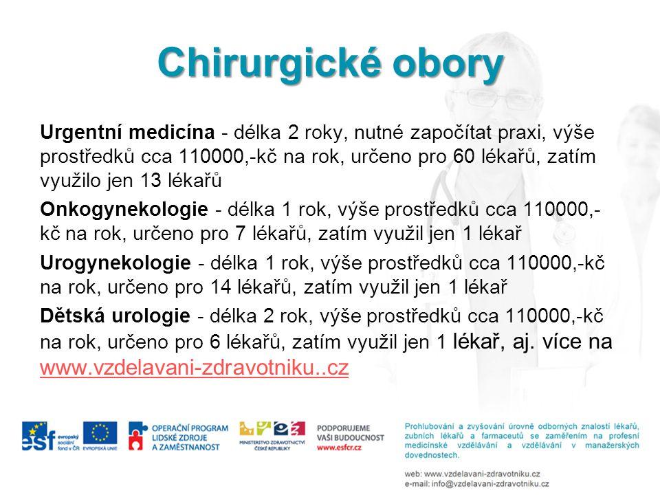 Chirurgické obory Urgentní medicína - délka 2 roky, nutné započítat praxi, výše prostředků cca 110000,-kč na rok, určeno pro 60 lékařů, zatím využilo