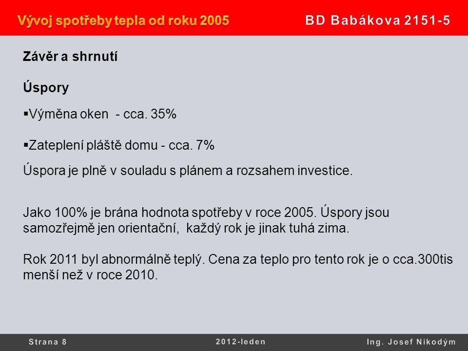 Závěr a shrnutí Úspory  Výměna oken - cca. 35%  Zateplení pláště domu - cca. 7% Úspora je plně v souladu s plánem a rozsahem investice. Jako 100% je