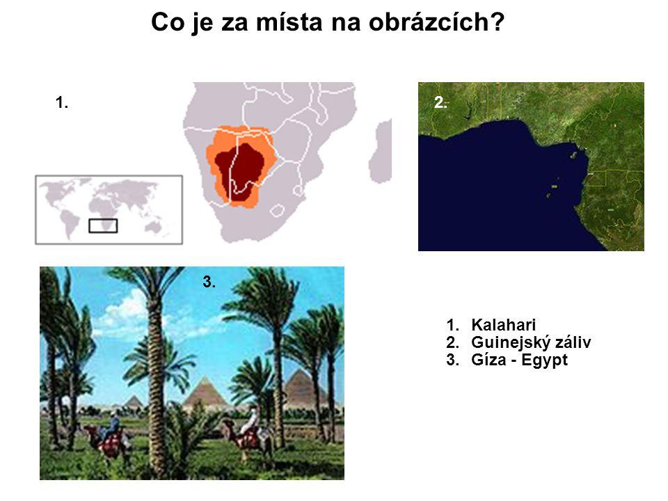 1. Co je za místa na obrázcích? 1.Kalahari 2.Guinejský záliv 3.Gíza - Egypt 2. 3.