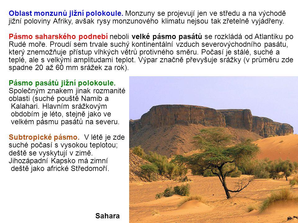 Oblast monzunů jižní polokoule. Monzuny se projevují jen ve středu a na východě jižní poloviny Afriky, avšak rysy monzunového klimatu nejsou tak zřete