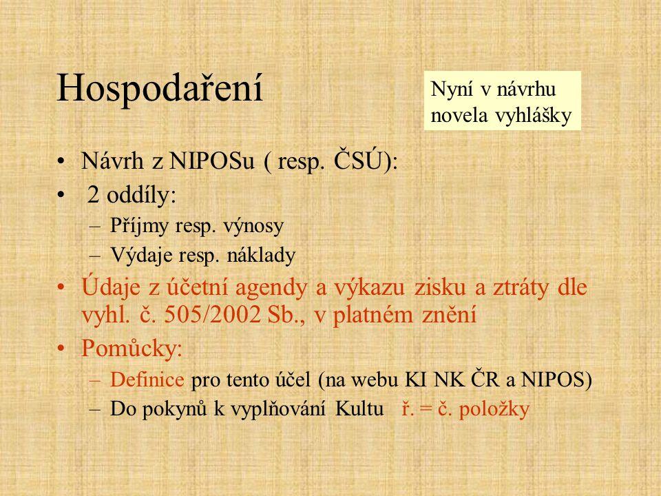 Hospodaření •Návrh z NIPOSu ( resp. ČSÚ): • 2 oddíly: –Příjmy resp.