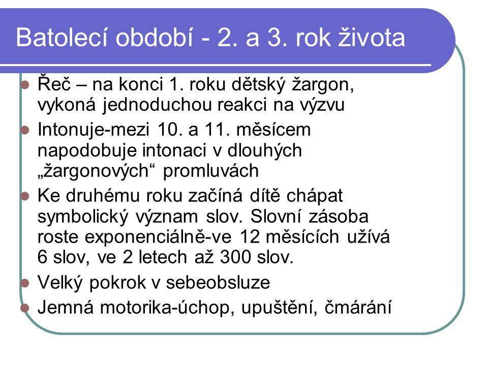 Batolecí období - 2. a 3. rok života  Řeč – na konci 1. roku dětský žargon, vykoná jednoduchou reakci na výzvu  Intonuje-mezi 10. a 11. měsícem napo