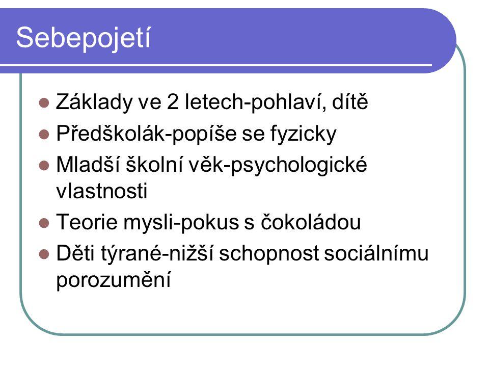 Sebepojetí  Základy ve 2 letech-pohlaví, dítě  Předškolák-popíše se fyzicky  Mladší školní věk-psychologické vlastnosti  Teorie mysli-pokus s čoko