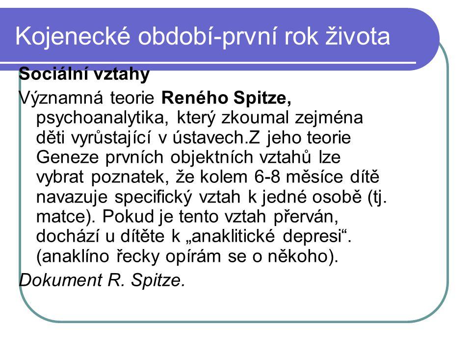 Kojenecké období-první rok života Př.Separace dětí od matky v nemocnici-do 6.-7.
