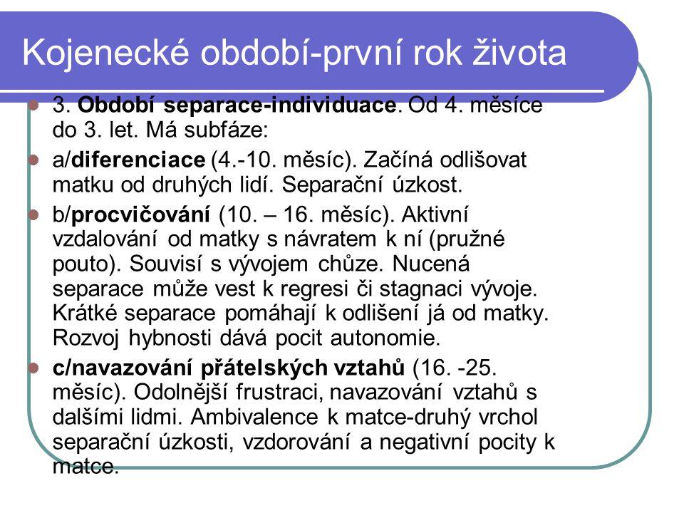 Kojenecké období-první rok života  d/ individuace (25.