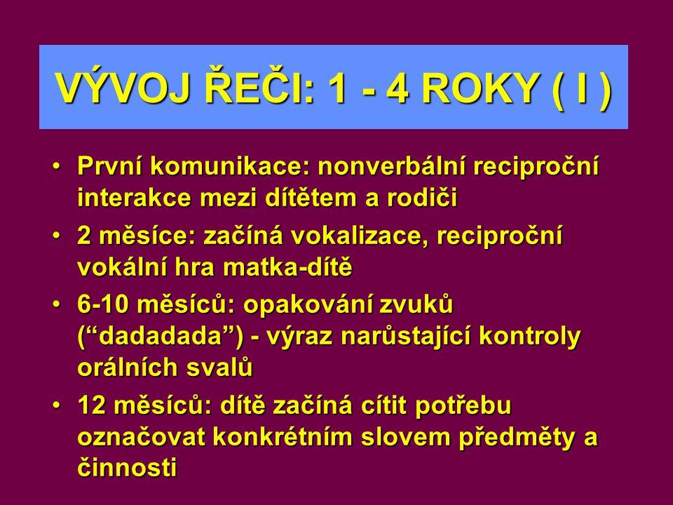 VÝVOJ ŘEČI: 1 - 4 ROKY ( I ) •První komunikace: nonverbální reciproční interakce mezi dítětem a rodiči •2 měsíce: začíná vokalizace, reciproční vokáln