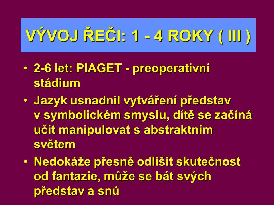 VÝVOJ ŘEČI: 1 - 4 ROKY ( III ) •2-6 let: PIAGET - preoperativní stádium •Jazyk usnadnil vytváření představ v symbolickém smyslu, dítě se začíná učit m
