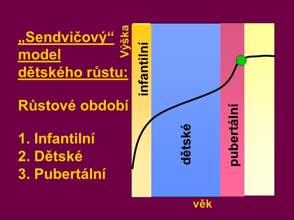 """věk Výška infantilní dětské pubertální """"Sendvičový"""" model dětského růstu: Růstové období 1. Infantilní 2. Dětské 3. Pubertální"""