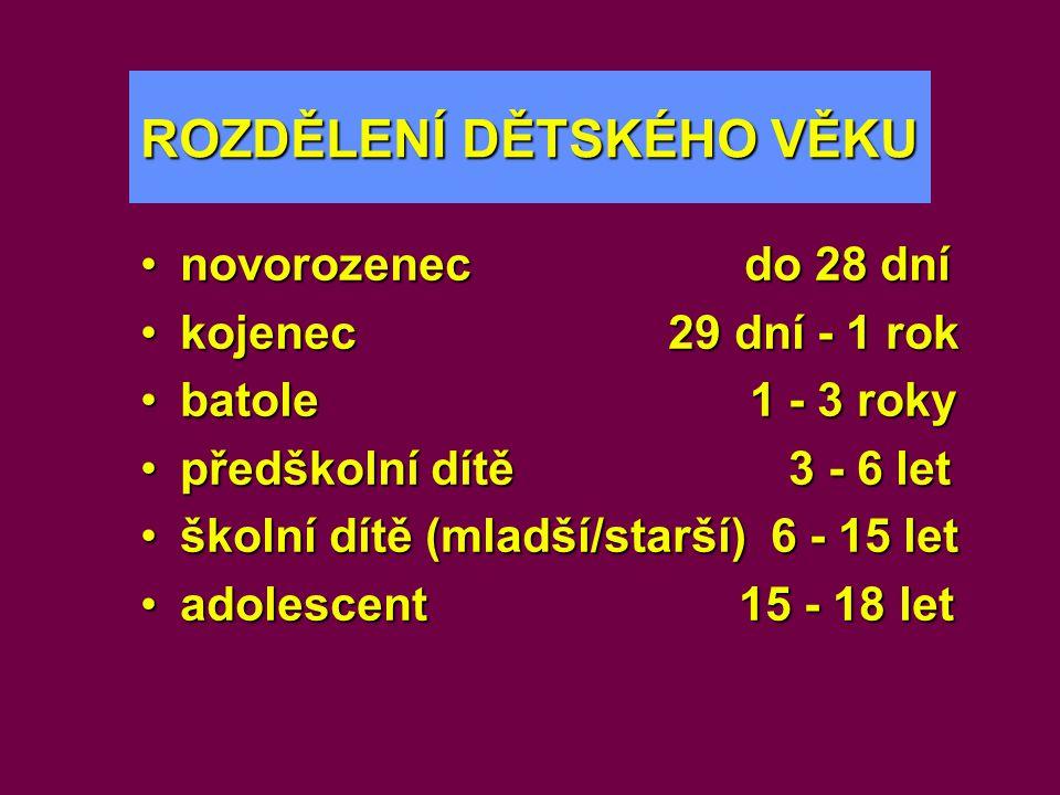 ROZDĚLENÍ DĚTSKÉHO VĚKU •novorozenec do 28 dní •kojenec 29 dní - 1 rok •batole 1 - 3 roky •předškolní dítě 3 - 6 let •školní dítě (mladší/starší) 6 -