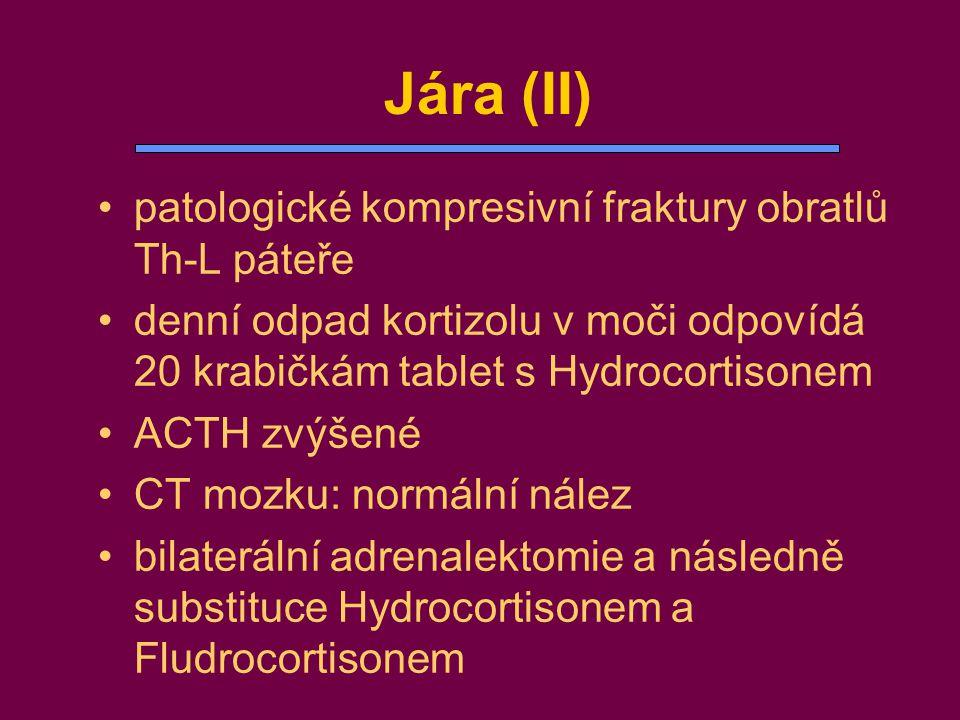 •patologické kompresivní fraktury obratlů Th-L páteře •denní odpad kortizolu v moči odpovídá 20 krabičkám tablet s Hydrocortisonem •ACTH zvýšené •CT m