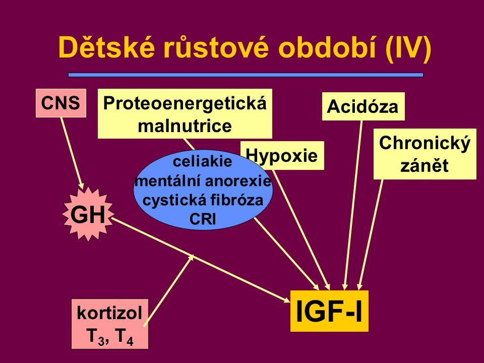 kortizol T 3, T 4 Dětské růstové období (IV) IGF-I Proteoenergetická malnutrice Acidóza GH CNS Chronický zánět Hypoxie celiakie mentální anorexie cyst