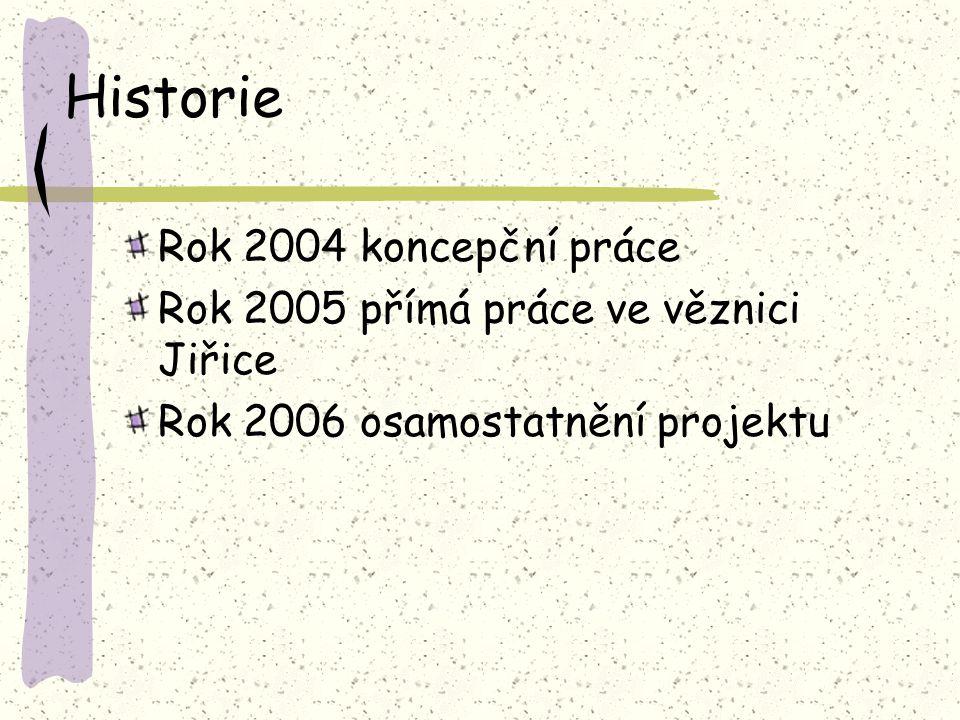 Historie Rok 2004 koncepční práce Rok 2005 přímá práce ve věznici Jiřice Rok 2006 osamostatnění projektu