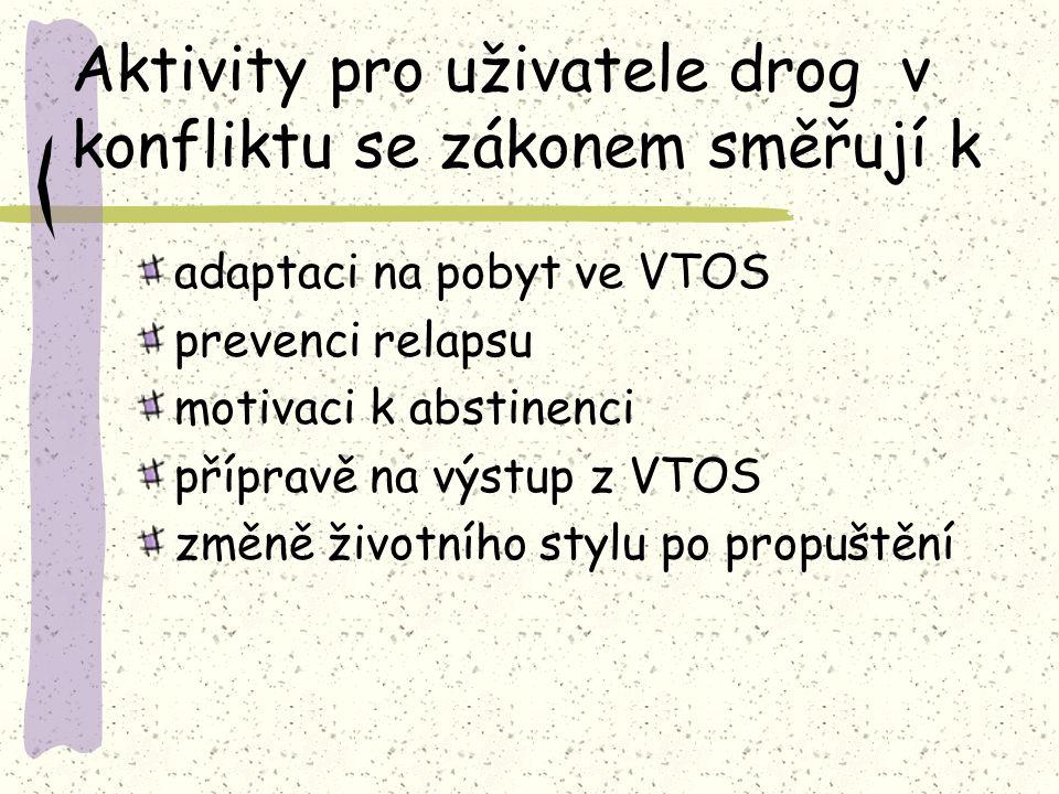 Aktivity pro uživatele drog v konfliktu se zákonem směřují k adaptaci na pobyt ve VTOS prevenci relapsu motivaci k abstinenci přípravě na výstup z VTOS změně životního stylu po propuštění