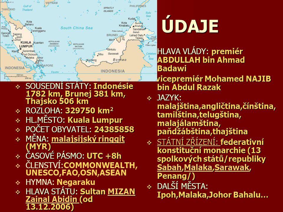 ZÁKLADNÍ ÚDAJE  POLOHA: v srdci JV Asie,rozkládající se na jihu Malajského poloostrova a na severu ostrova Borneo  SOUSEDNÍ STÁTY: Indonésie 1782 km