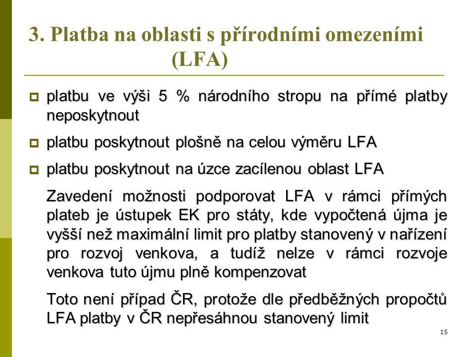 3. Platba na oblasti s přírodními omezeními (LFA)  platbu ve výši 5 % národního stropu na přímé platby neposkytnout  platbu poskytnout plošně na cel