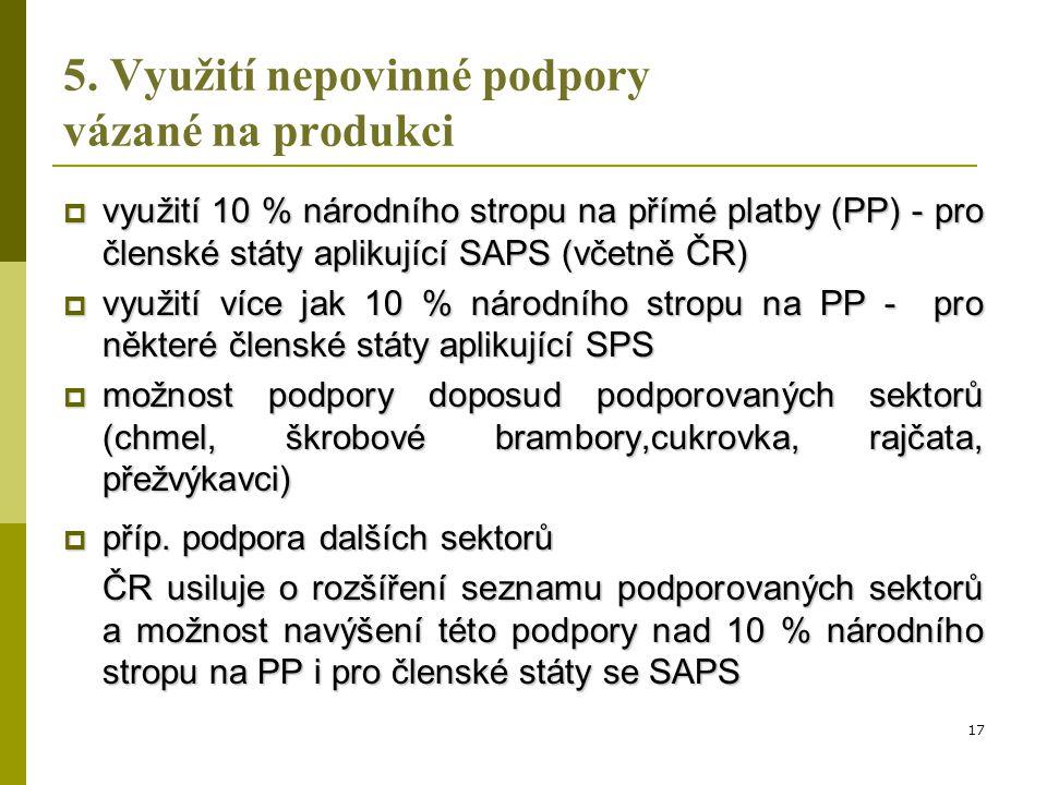 5. Využití nepovinné podpory vázané na produkci  využití 10 % národního stropu na přímé platby (PP) - pro členské státy aplikující SAPS (včetně ČR) 