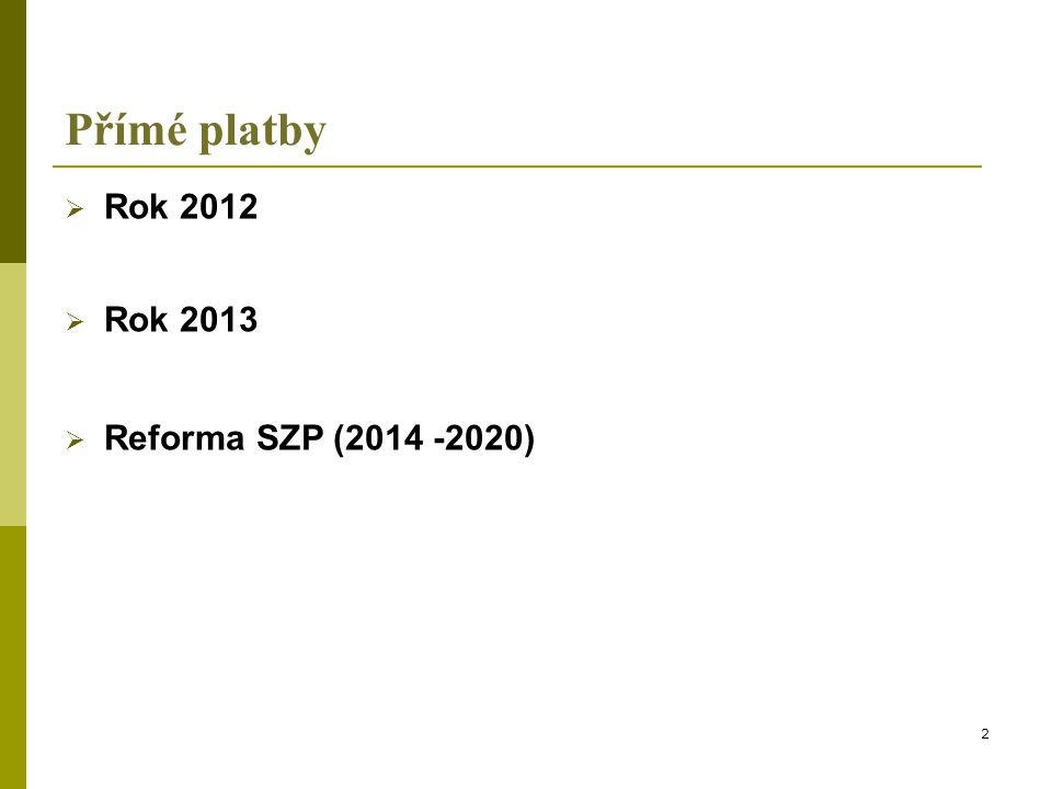 Přímé platby v roce 2012  v letošním roce dojde poprvé v NČS k aplikaci modulace na základě rozhodnutí EK z října 2011  významný dopad bude mít na čerpání Top-Up  modulace bude posuzována individuálně na úrovni farmy a vypočítá se z celkové sumy všech přímých plateb (SAPS, zvláštní podpora dle čl.
