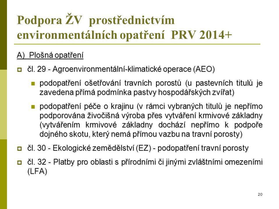  kritérium způsobilosti: AEO – podopatření ošetřování travních porostů, EZ – podopatření travní porosty a LFA  platba na ha travního porostu (AEO a EZ), resp.