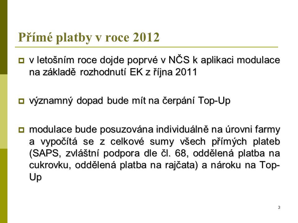Přímé platby v roce 2012  pokud přesáhne celková suma přímých plateb pro daný podnik částku 5.000 EUR, částka překračující tuto úroveň podléhá modulaci na úrovni 10 % - takto vypočtená částka modulace se odečte od nároku na Top-Up v letošním roce  v případě, že součet přímých plateb a Top-Up přesáhne částku 300.000 EUR, aplikuje se na částku přesahující tuto hranici další dodatečná modulace ve výši 4 % - takto vypočtená částka modulace se odečte od nároku na Top-Up v letošním roce 4