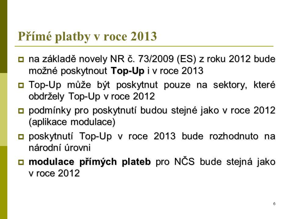 Reforma SZP (2014 – 2020)  návrh nařízení o přímých platbách na roky 2014 – 2020 zavádí v rámci I.