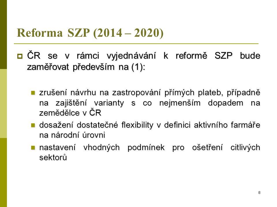 Reforma SZP (2014 – 2020)  ČR se v rámci vyjednávání k reformě SZP bude zaměřovat především na (2):  dosažení rovného přístupu ke všem ČS u čl.