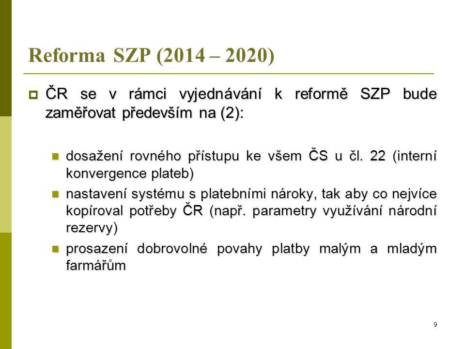 Reforma SZP (2014 – 2020)  ČR se v rámci vyjednávání k reformě SZP bude zaměřovat především na (3):  optimální nastavení podmínek greeningu (a):  dobrovolnost greeningové složky  rozhodnutí o aplikaci greeningu na úrovni farmáře  sankce za případné nesplnění požadavků na ozelenění nepřesáhne výši samotné greeningové platby 10