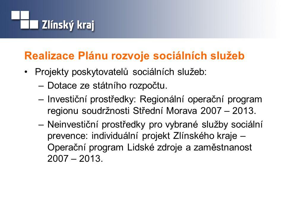 Realizace Plánu rozvoje sociálních služeb •Projekty poskytovatelů sociálních služeb: –Dotace ze státního rozpočtu. –Investiční prostředky: Regionální