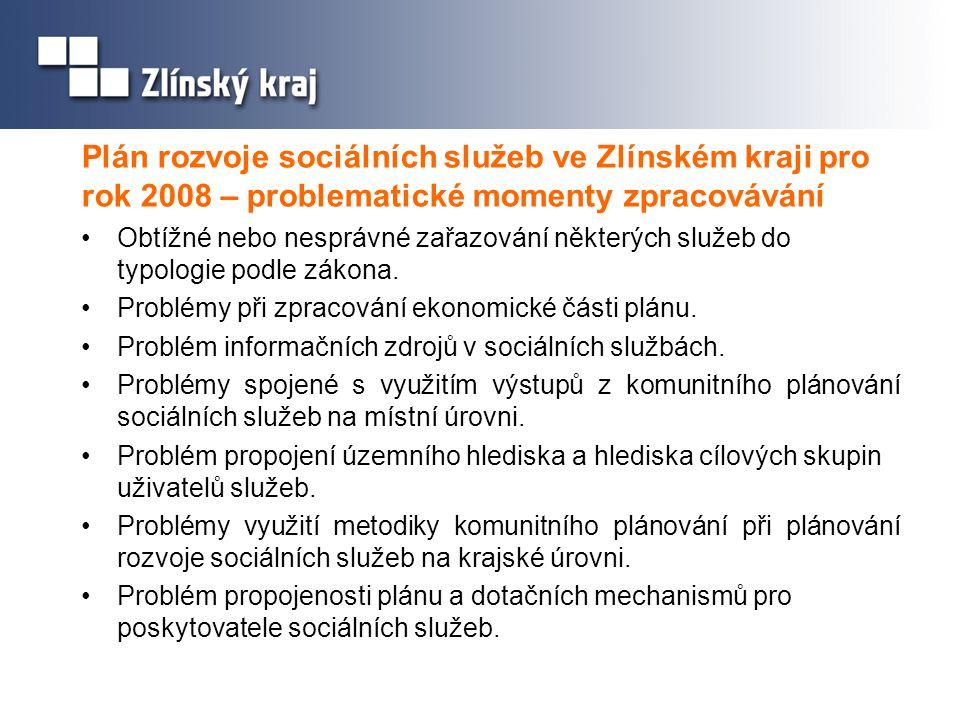 Plán rozvoje sociálních služeb ve Zlínském kraji pro rok 2008 – problematické momenty zpracovávání •Obtížné nebo nesprávné zařazování některých služeb
