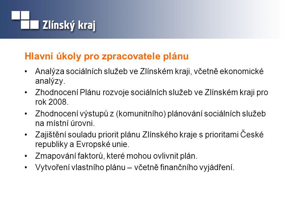 Hlavní úkoly pro zpracovatele plánu •Analýza sociálních služeb ve Zlínském kraji, včetně ekonomické analýzy. •Zhodnocení Plánu rozvoje sociálních služ
