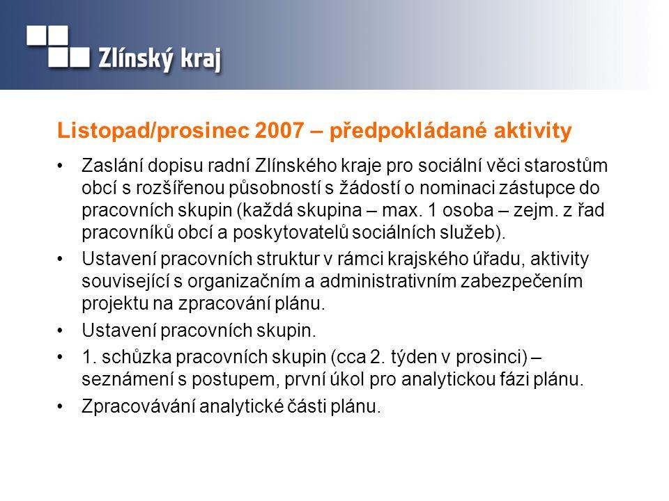 Listopad/prosinec 2007 – předpokládané aktivity •Zaslání dopisu radní Zlínského kraje pro sociální věci starostům obcí s rozšířenou působností s žádos