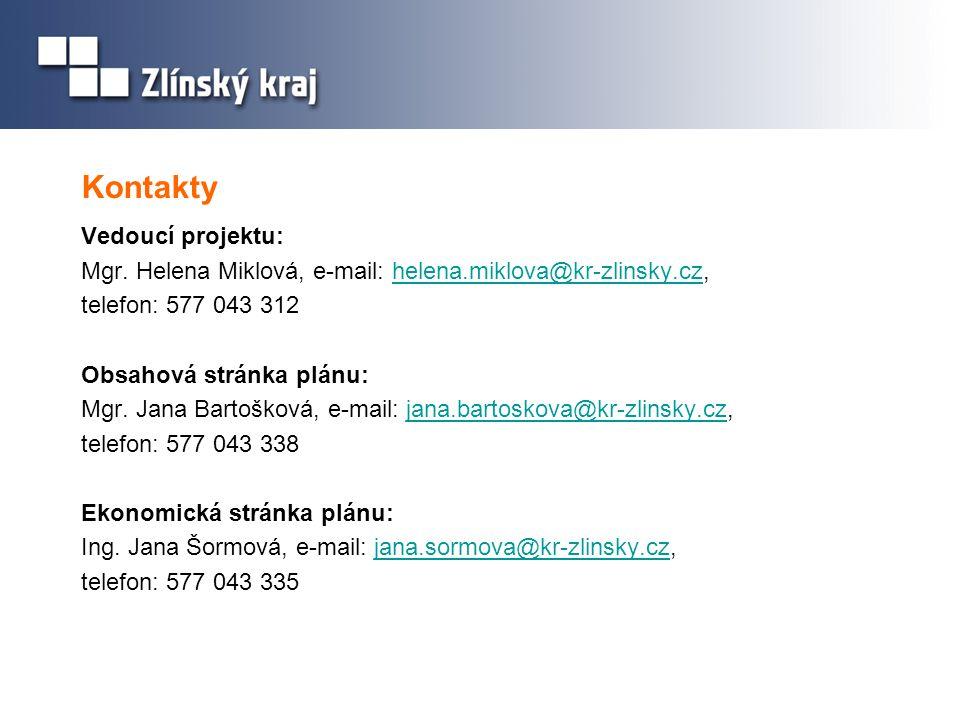 Kontakty Vedoucí projektu: Mgr. Helena Miklová, e-mail: helena.miklova@kr-zlinsky.cz,helena.miklova@kr-zlinsky.cz telefon: 577 043 312 Obsahová stránk