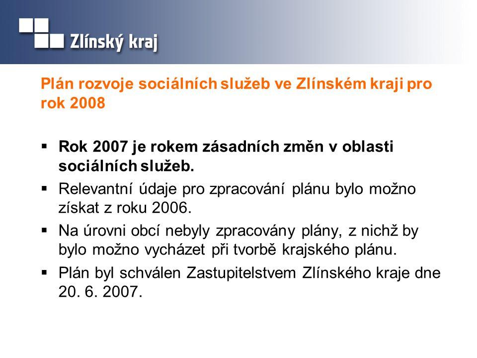 Plán rozvoje sociálních služeb ve Zlínském kraji pro rok 2008  Rok 2007 je rokem zásadních změn v oblasti sociálních služeb.  Relevantní údaje pro z