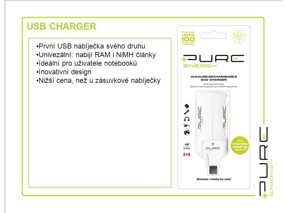 USB CHARGER •První USB nabíječka svého druhu •Univezální: nabijí RAM i NiMH články •Ideální pro uživatele notebooků •Inovativní design •Nižší cena, než u zásuvkové nabíječky