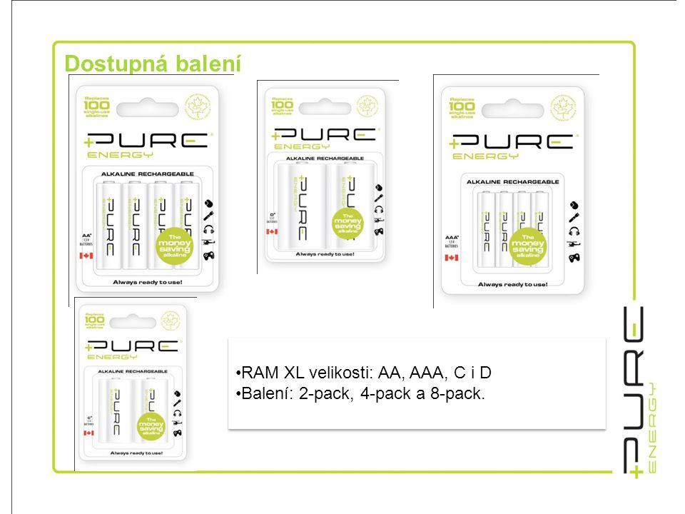 Dostupná balení •RAM XL velikosti: AA, AAA, C i D •Balení: 2-pack, 4-pack a 8-pack.