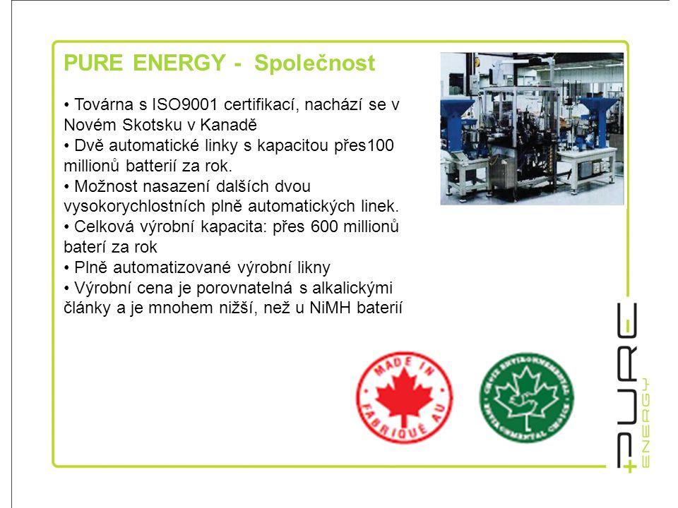PURE ENERGY - Společnost • Továrna s ISO9001 certifikací, nachází se v Novém Skotsku v Kanadě • Dvě automatické linky s kapacitou přes100 millionů batterií za rok.