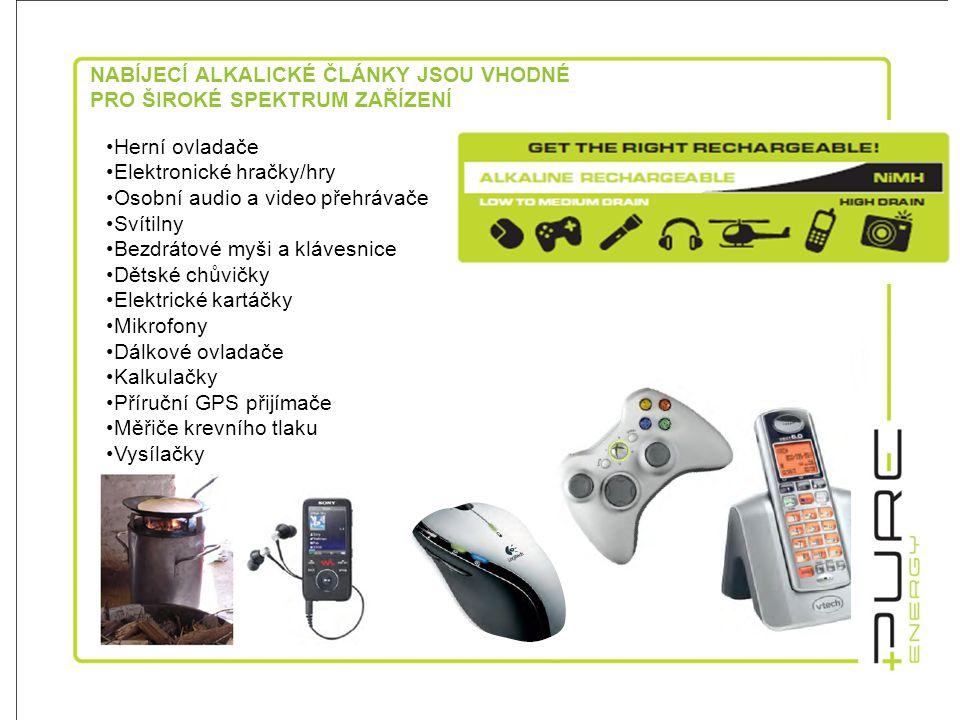 NABÍJECÍ ALKALICKÉ ČLÁNKY JSOU VHODNÉ PRO ŠIROKÉ SPEKTRUM ZAŘÍZENÍ •Herní ovladače •Elektronické hračky/hry •Osobní audio a video přehrávače •Svítilny •Bezdrátové myši a klávesnice •Dětské chůvičky •Elektrické kartáčky •Mikrofony •Dálkové ovladače •Kalkulačky •Příruční GPS přijímače •Měřiče krevního tlaku •Vysílačky