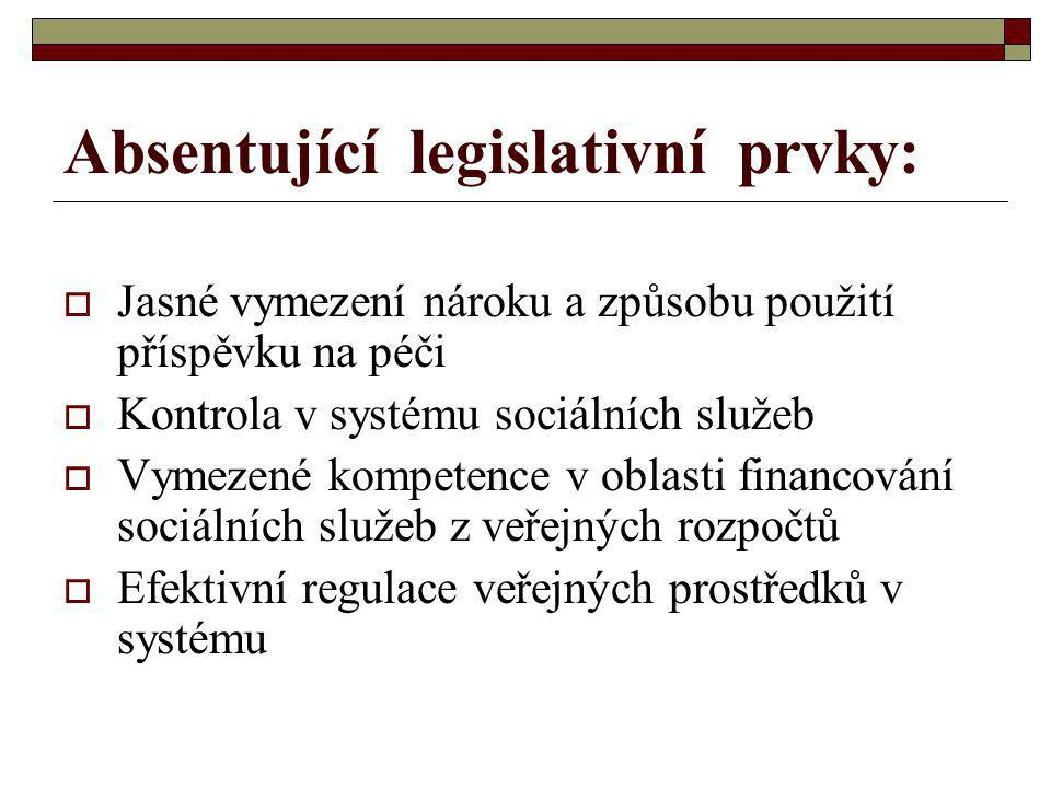 Absentující legislativní prvky:  Jasné vymezení nároku a způsobu použití příspěvku na péči  Kontrola v systému sociálních služeb  Vymezené kompetence v oblasti financování sociálních služeb z veřejných rozpočtů  Efektivní regulace veřejných prostředků v systému