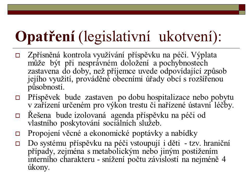 Opatření (legislativní ukotvení):  Zpřísněná kontrola využívání příspěvku na péči. Výplata může být při nesprávném doložení a pochybnostech zastavena