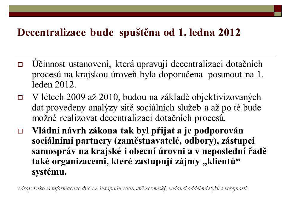 Decentralizace bude spuštěna od 1. ledna 2012  Účinnost ustanovení, která upravují decentralizaci dotačních procesů na krajskou úroveň byla doporučen