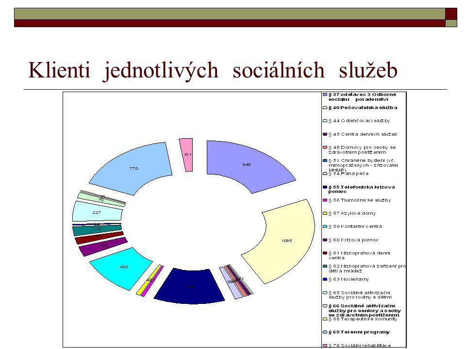 Klienti jednotlivých sociálních služeb
