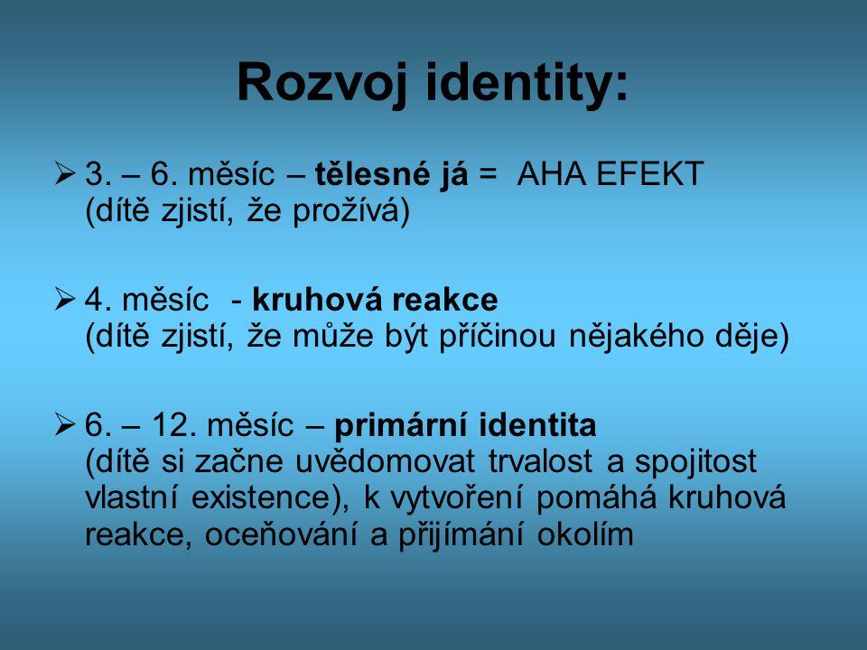 Rozvoj identity:  3. – 6. měsíc – tělesné já = AHA EFEKT (dítě zjistí, že prožívá)  4. měsíc - kruhová reakce (dítě zjistí, že může být příčinou něj