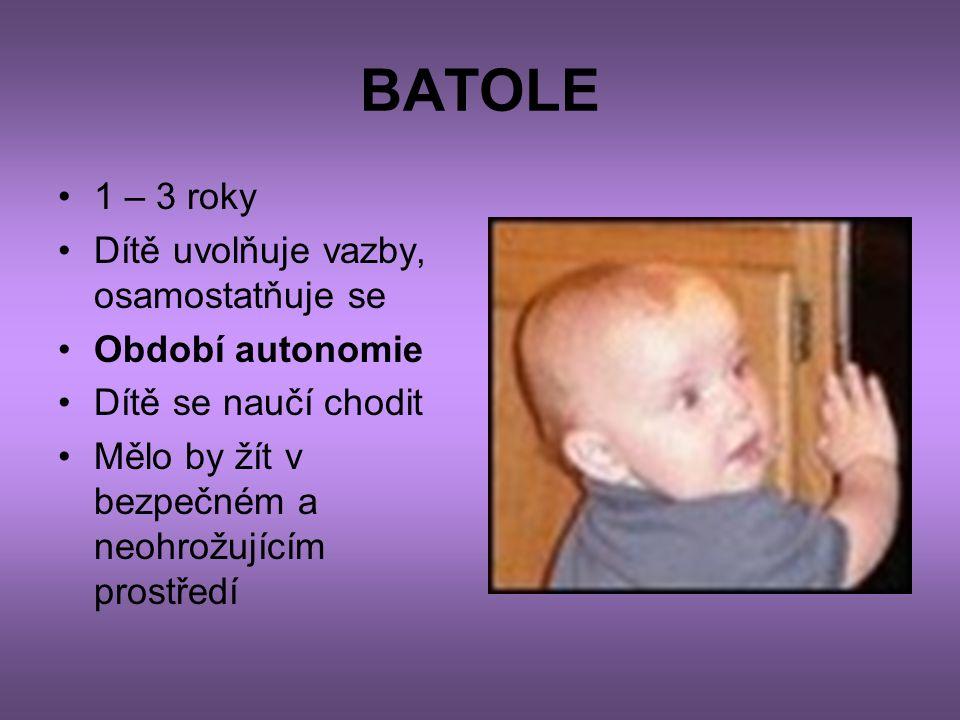 BATOLE •1 – 3 roky •Dítě uvolňuje vazby, osamostatňuje se •Období autonomie •Dítě se naučí chodit •Mělo by žít v bezpečném a neohrožujícím prostředí