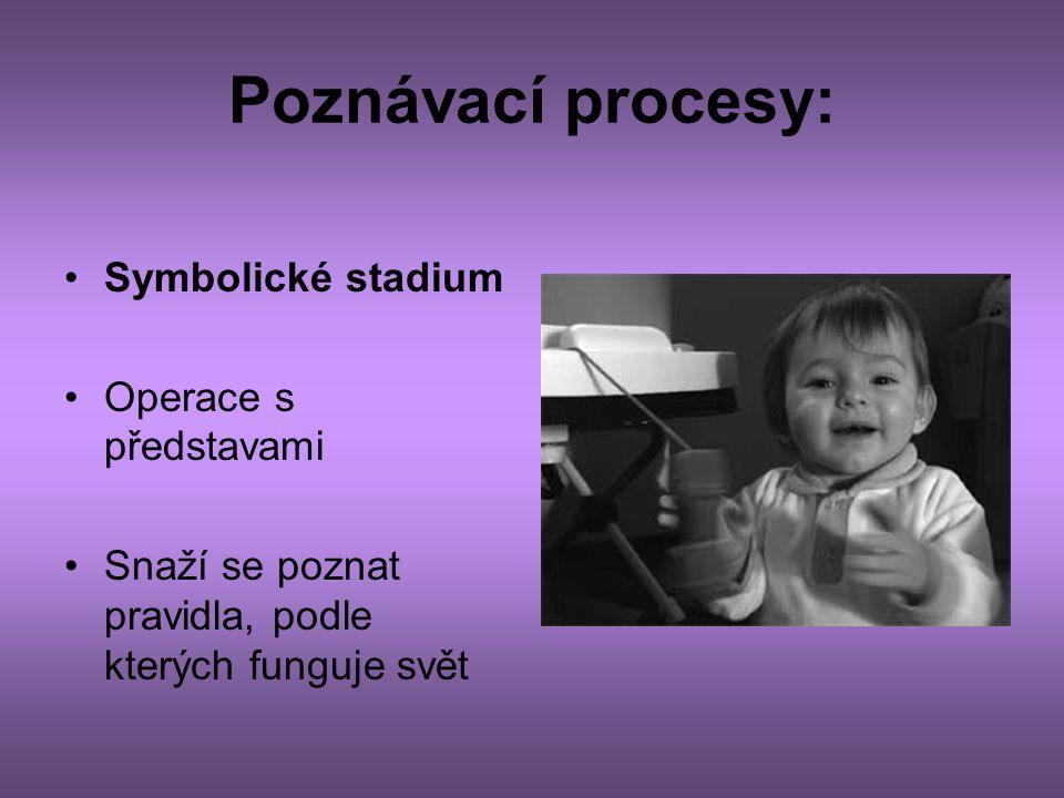 Poznávací procesy: •Symbolické stadium •Operace s představami •Snaží se poznat pravidla, podle kterých funguje svět