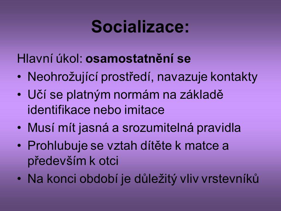 Socializace: Hlavní úkol: osamostatnění se •Neohrožující prostředí, navazuje kontakty •Učí se platným normám na základě identifikace nebo imitace •Mus