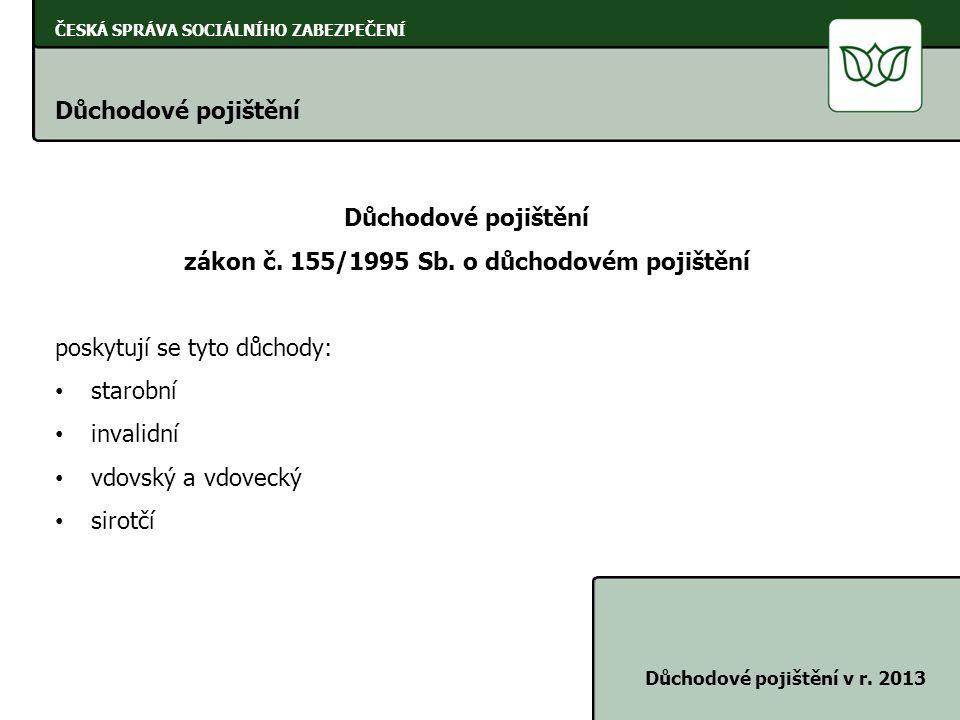ČESKÁ SPRÁVA SOCIÁLNÍHO ZABEZPEČENÍ Důchodové pojištění Důchodové pojištění v r. 2013 Důchodové pojištění zákon č. 155/1995 Sb. o důchodovém pojištění