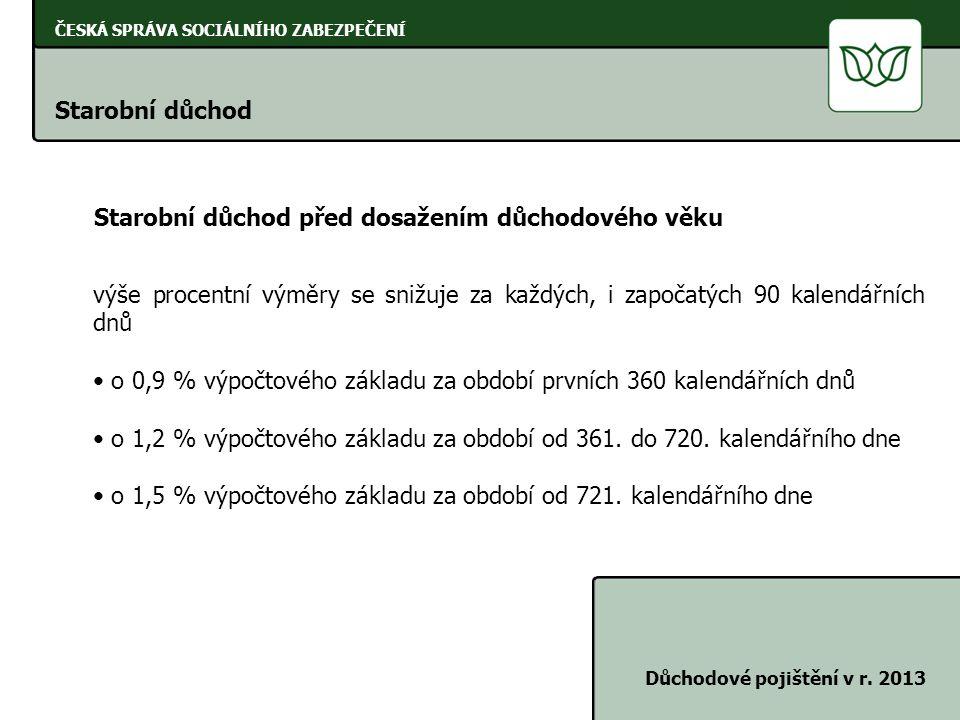ČESKÁ SPRÁVA SOCIÁLNÍHO ZABEZPEČENÍ Starobní důchod Důchodové pojištění v r. 2013 Starobní důchod před dosažením důchodového věku výše procentní výměr