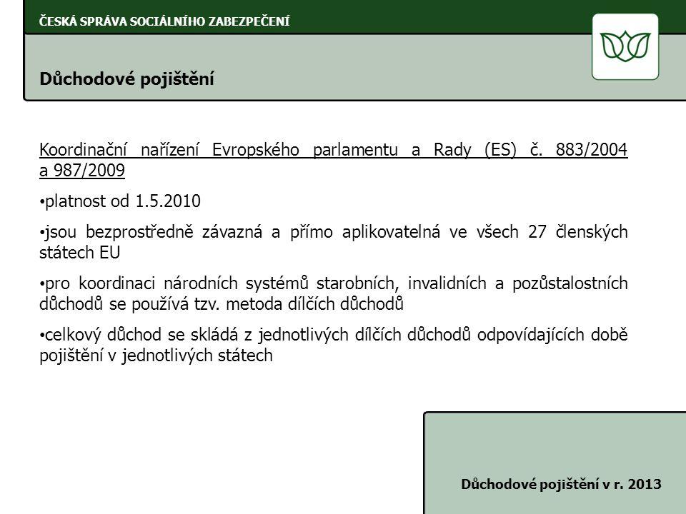 ČESKÁ SPRÁVA SOCIÁLNÍHO ZABEZPEČENÍ Důchodové pojištění Důchodové pojištění v r. 2013 Koordinační nařízení Evropského parlamentu a Rady (ES) č. 883/20