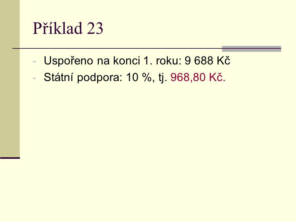 Příklad 23 - Uspořeno na konci 1. roku: 9 688 Kč - Státní podpora: 10 %, tj. 968,80 Kč.